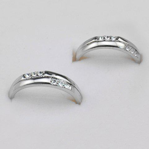 2PCS of Diamante / Carved Design Alloy Rings For Lovers - AS THE PICTURE ONE SIZE