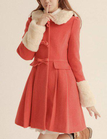 Women's Turn-Down Collar Bowknot Embellished Long Sleeves Slimming Blended Coat - AS THE PICTURE L