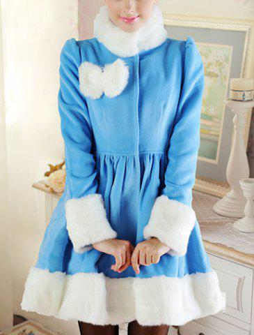 Elegant Stand Collar Fake Fur Splicing Long Sleeve Bow Embellished Coat For Women - SKY BLUE M