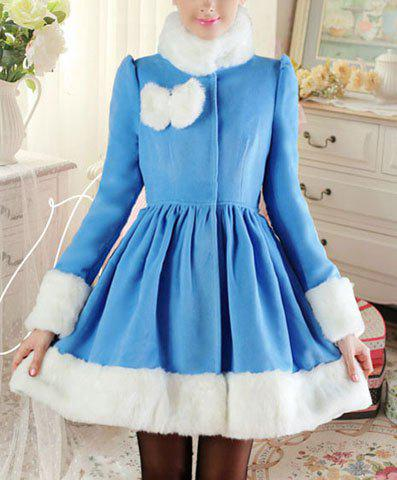Women's Detachable Fur Collar Waisted Pleated Long Sleeves Blended Wool Coat - SKY BLUE S