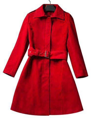 Elegant Shirt Collar Long Sleeve Slimming Red Coat For Women - RED M