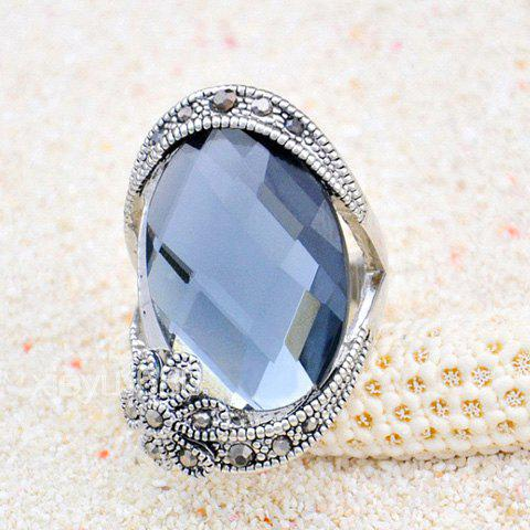 Alloy Flower Faux Gemstone Embellished Ring - COLOR ASSORTED ONE SIZE