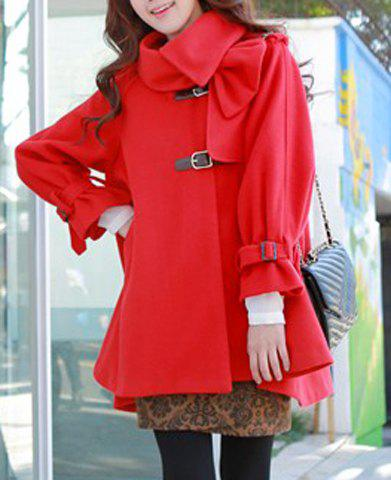 Cute Red Long Sleeve Single-Breasted Pleated Hooded Coat For Women - RED L