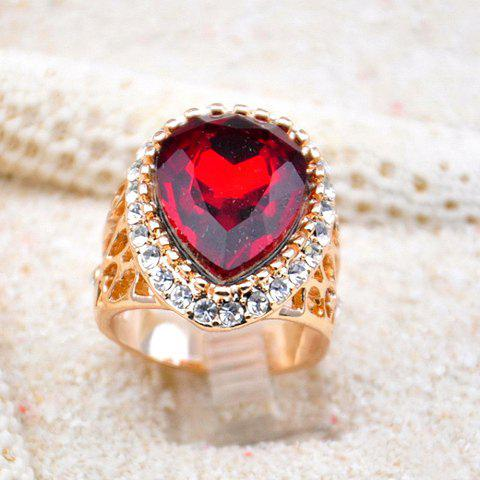 Elegant Rhinestone Embellished Heart Faux Gem Ring - AS THE PICTURE ONE SIZE