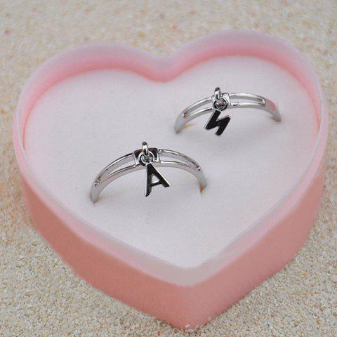 Pair of Hot Sale Letter A and N Shape Alloy Rings - AS THE PICTURE ONE SIZE
