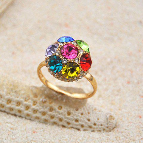 Chic Colored Fully-Jewelled Ball Embellished Alloy Ring For Women - AS THE PICTURE ONE SIZE