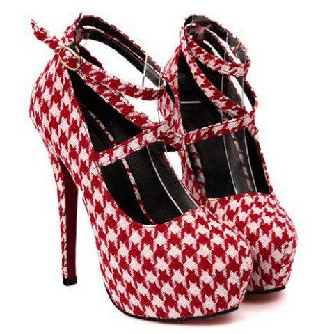 Sexy Houndstooth and Cross-Straps Design Pumps For Women - CHECKED 40