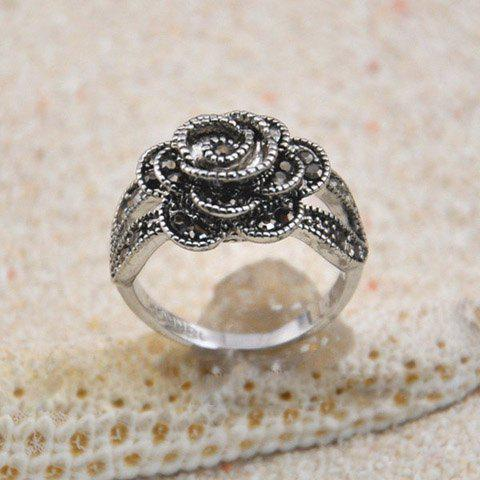 Diamante Rose Embellished Alloy Ring - AS THE PICTURE ONE SIZE