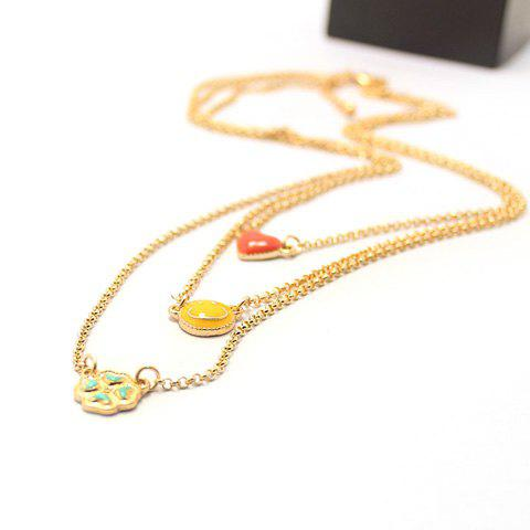 Leaf Smiling Face and Heart Shape Multilayered Necklace - AS THE PICTURE
