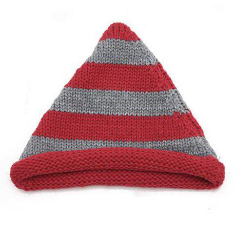 Chic Colored Striped Knitting Yarn Peaked Cap For Women - RED