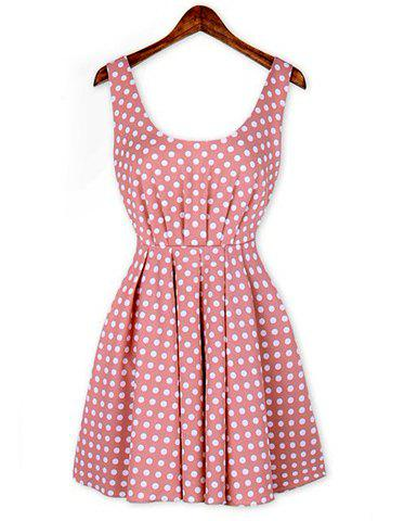 Sexy Shoulder Straps Polka Dot Print Backless Pleated Dress For Women - PINK M