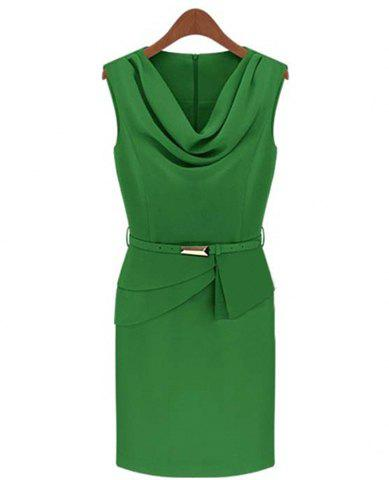 Elegant Draped Collar Solid Color Sleeveless Slimming Dress For Women - GREEN XL