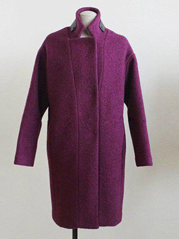 Simple Design Stand Collar Single-Breasted Solid Color Long Sleeve Coat For Women - PURPLE M