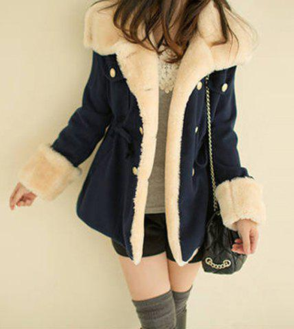 Preppy Style Turn-Down Collar Thickened Woolen Lined Drawstring Waist Long Sleeves Coat - NAVY ONE SIZE