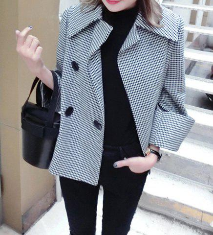 Turn-Down Collar Bowknot Tied Houndstooth Irregular Design Long Sleeves Women's Coat - AS THE PICTURE S