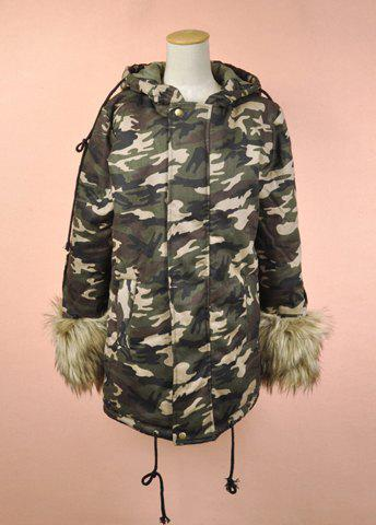Military Uniform Style Hooded Faux Raccoon Drawstring Hem Long Sleeves Thickened Design Women's Cotton Coat - CAMO M