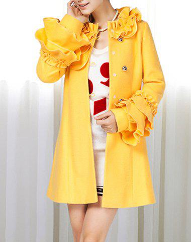 Stand Collar Flower Flouncing Embellished Waisted Long Sleeves Single-Breasted Blended Women's Coat