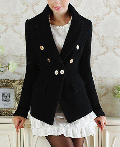 Fashionable Turn-Down Collar Long Sleeve Button Embellished Black Coat For Women