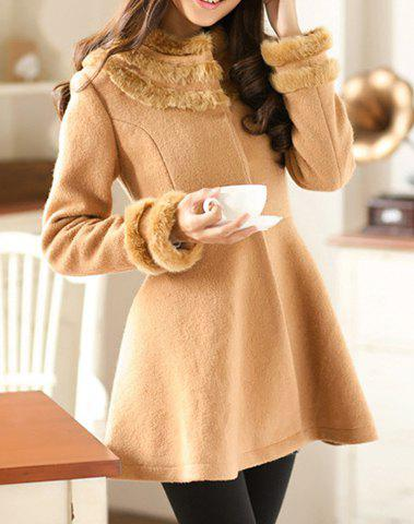 Stylish Round Neck Long Sleeve Fake Fur Embellished Ruffle Coat For Women - CAMEL S
