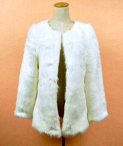 Fluffy Faux Mink Fur Solid Color Long Sleeves Design Women's Coat - WHITE ONE SIZE