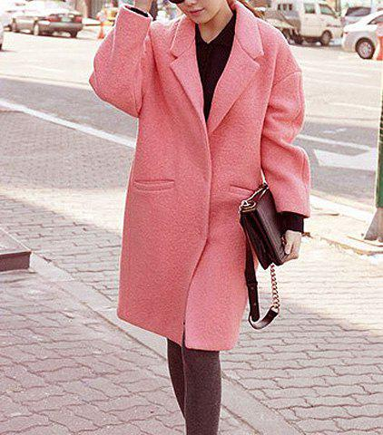 Casual Turn-Down Collar Solid Color Pockets Long Sleeves Loose-Fitting Blended Cloak Coat - WATERMELON RED L