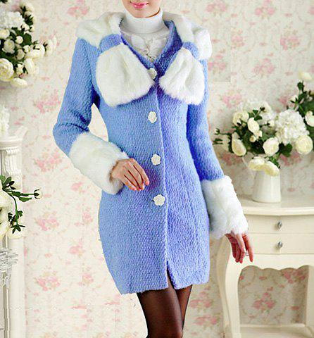 Sweet Scoop Collar Fluff Bowknot Embellished Color Matching Rose Button Slimming Long Sleeves Design Coat - BLUE S