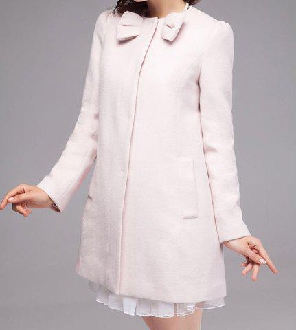 Fashionable Round Neck Bow Embellished Long Sleeve Solid Color Coat For Women - BEIGE M