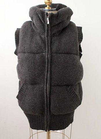 Fashion Turn-Down Collar Solid Color Zipper With Pockets Thickened Blended Waistcoat - GRAY ONE SIZE