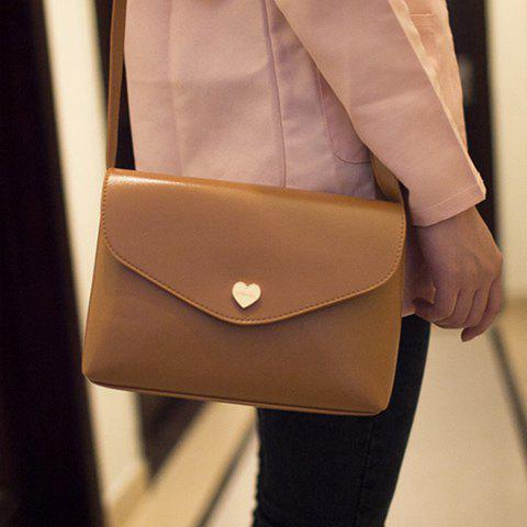 Korean Style Solid Color and Heart Shape Design Crossbody Bag For Women - CAMEL