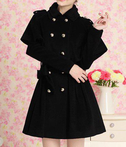 Elegant Flat Collar Double-Breasted Long Sleeve Black Coat and Cape Twinset For Women - BLACK L