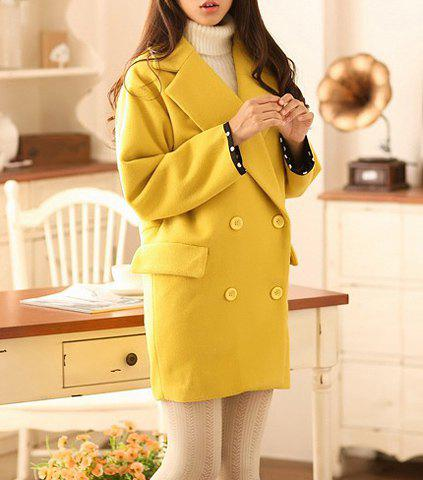 Casual Turn-Down Collar Solid Color Double-Breasted Long Sleeve Loose-Fitting Coat - GINGER S