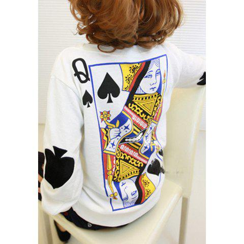 Long Sleeves Round Neck Poker Pattern Print Women's Sweatshirt - WHITE ONE SIZE(FIT SIZE XS TO M)