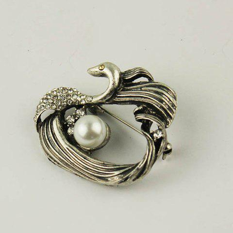 Fashionable Retro Rhinestone Faux Pearl Decorated Animal Shape Brooch For Women - AS THE PICTURE