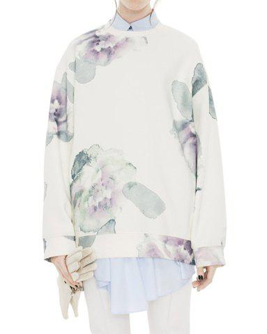 Casual Round Neck Long Sleeve Floral Print Loose-Fitting Sweatshirt For Women - WHITE ONE SIZE