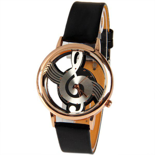 Dresslily USA M388 Fashion Style Quartz Watch 12 Mini Dots Indicate with Music Notes Patterned and Leather Band - Black