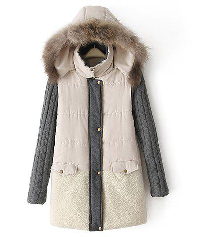 Fur Hooded Color Matching Taffeta Long Sleeves Cotton Coat For Women - BEIGE S