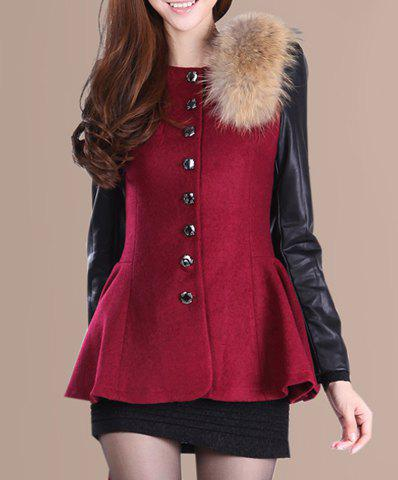 Sweet Wool Embellished Single-Breasted Peplum Top Leather Long Sleeves Slimming Coat For Women - RED S