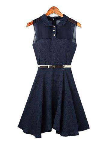 Charming Turn-Down Collar Single-Breasted Back Zipper Chiffon Splicing Sleeveless Pleated Women's Dress - BLUE S
