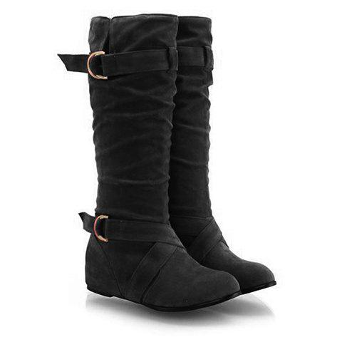 Stylish Suede and Buckle Design Mid-Calf Boots For Women - BLACK 38