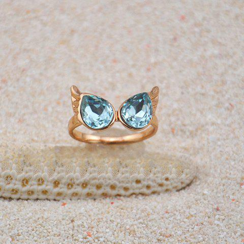 Chic Colored Faux Crystal Wing Embellished Alloy Ring For Women - BLUE ONE SIZE