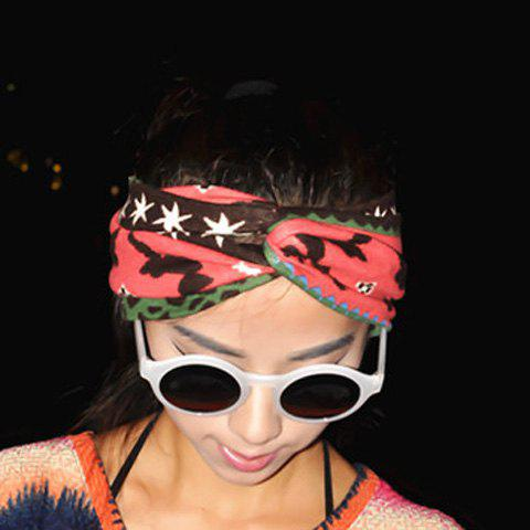 Sweet Star and Fawn Pattern Woolen Intersect Bandana - WATERMELON RED