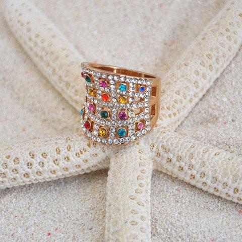 Exquisite Colored Fully-Jewelled Wide Alloy Ring For Women - COLOR ASSORTED ONE SIZE