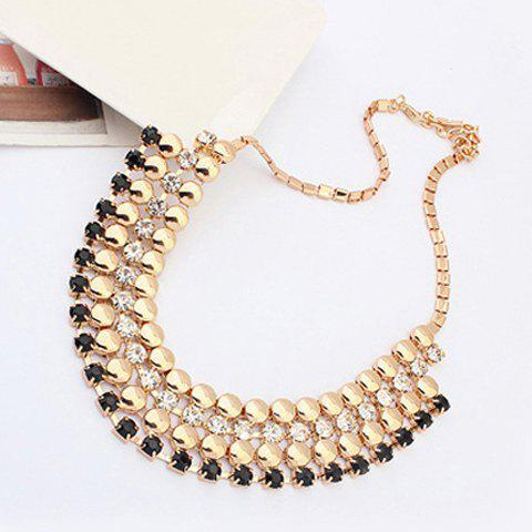 Trendy Chic Rhinestone Rivet Necklace For Women - BLACK