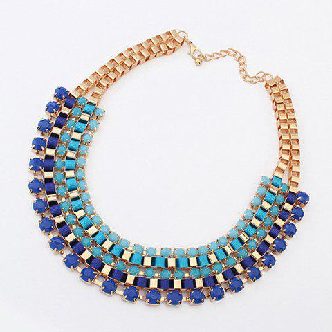 Rhinestone Decorated Layered Necklace - COLOR ASSORTED