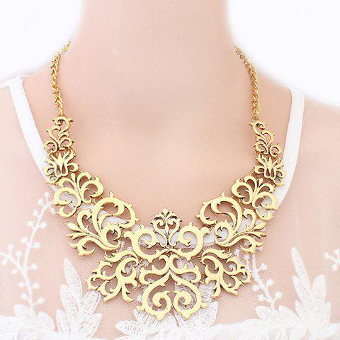 Openwork Flower Pattern Carved Necklace - AS THE PICTURE