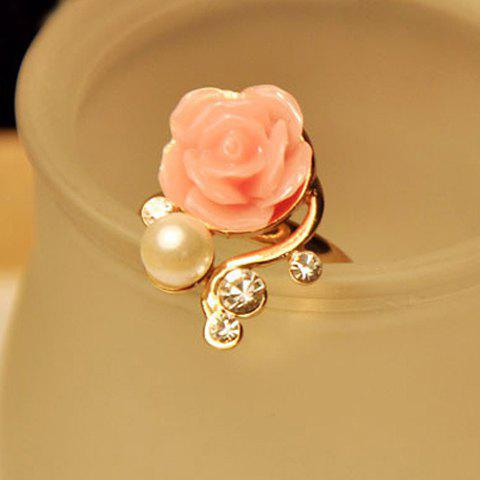 Rose Flower Beads Rhinestone Ring - AS THE PICTURE ONE SIZE