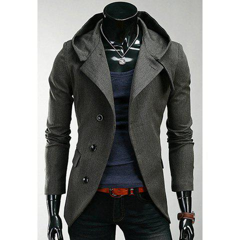 Korean Hooded Single-Breasted Long Sleeves Polyester Coat For Men - DEEP GRAY M