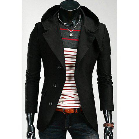 Korean Hooded Single-Breasted Long Sleeves Polyester Coat For Men - BLACK XL