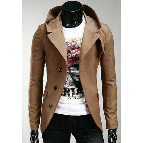 Korean Hooded Single-Breasted Long Sleeves Polyester Coat For Men - CAMEL XL