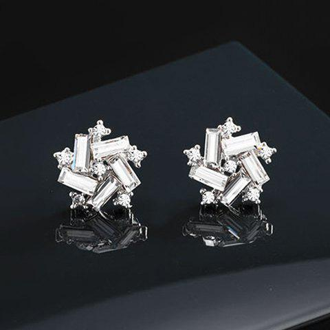 Pair of Faux Crystal Irregular Star Earrings - WHITE